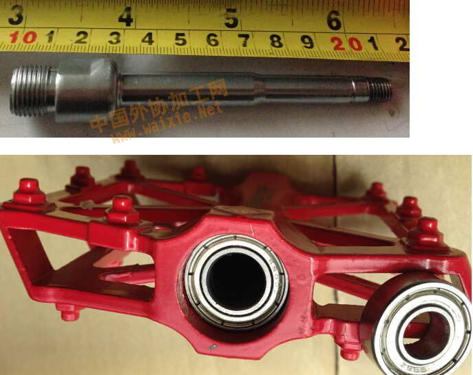 单车轴承的踏板的轴心和铝壳加工高清图片